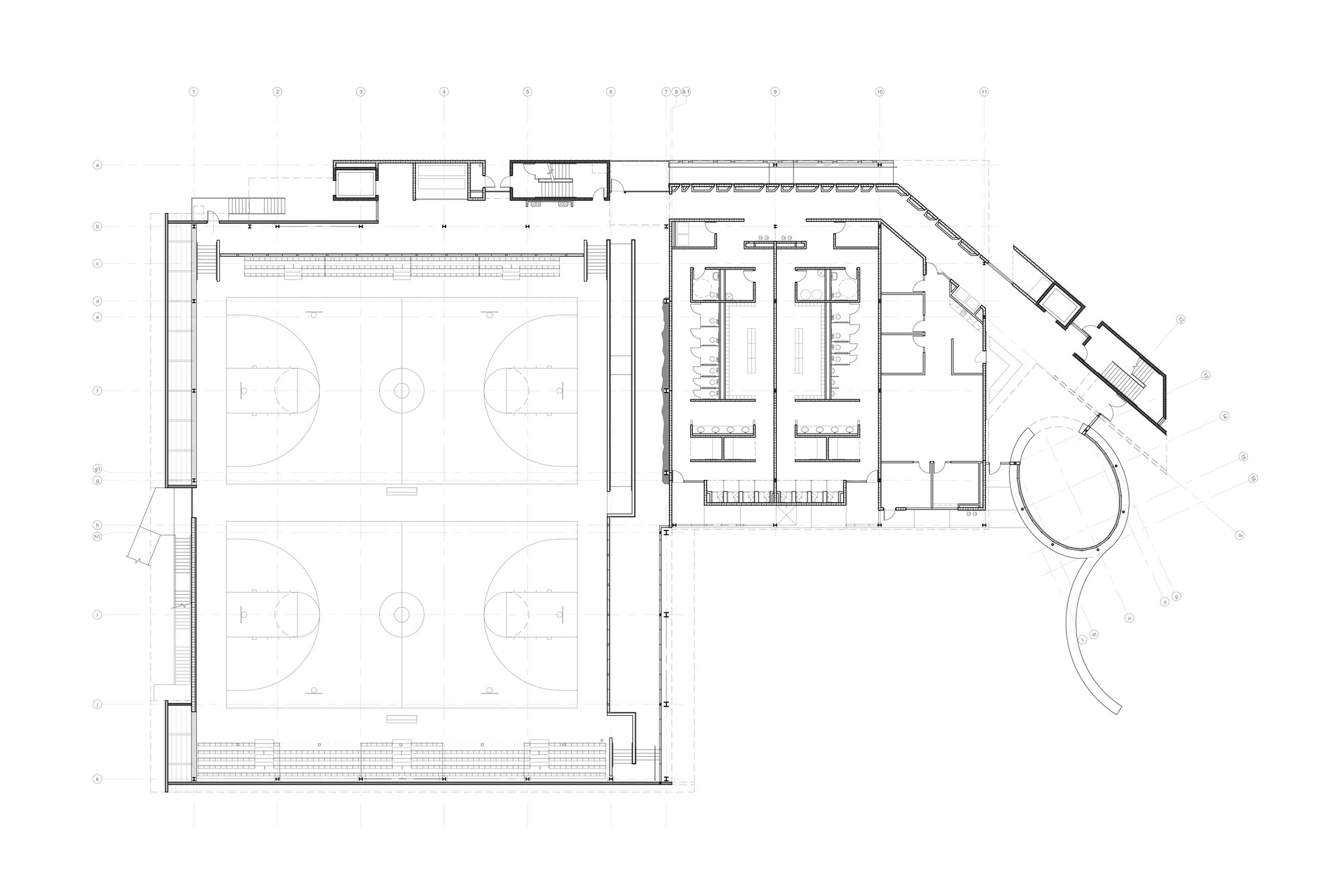 Sport and fitness center for disabled people baldinger for Fitness center floor plan