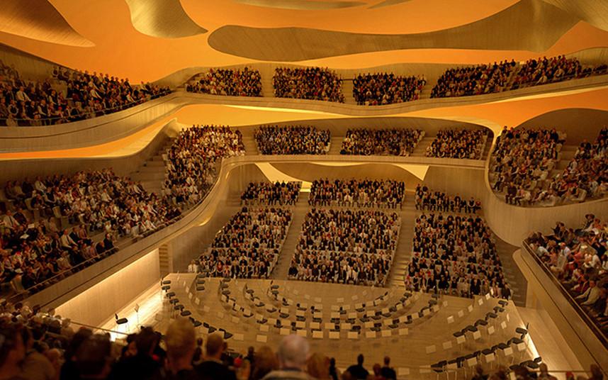 Sala de conciertos. Imagen cortesía de Filarmónica de París Arte Factory