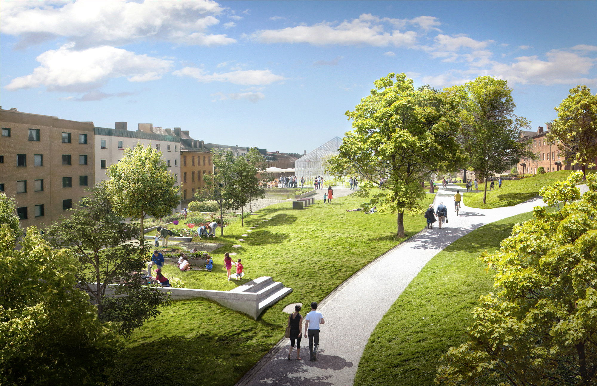 A public park area is planned on top of the housing units. Image © Utopia Arkitekter and LOLA Lovely landskap