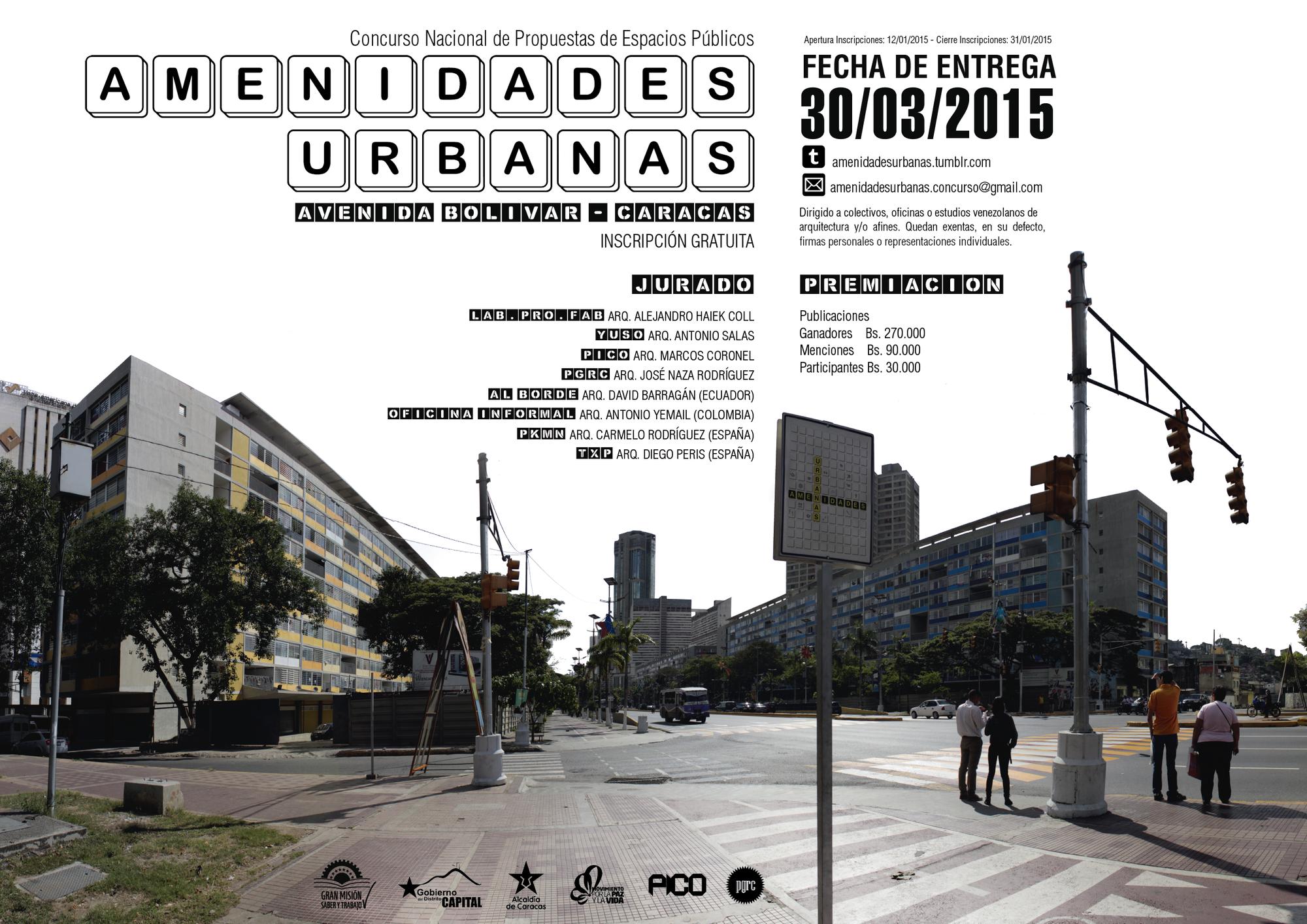 Concurso nacional de propuestas de espacios públicos: 'Amenidades urbanas' / Venezuela