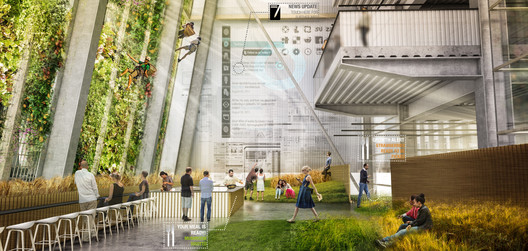 Interior showing sky gardens. Organic Grid + / Sean Cassidy & Joe Wilson. Image Courtesy of Metropolis Magazine