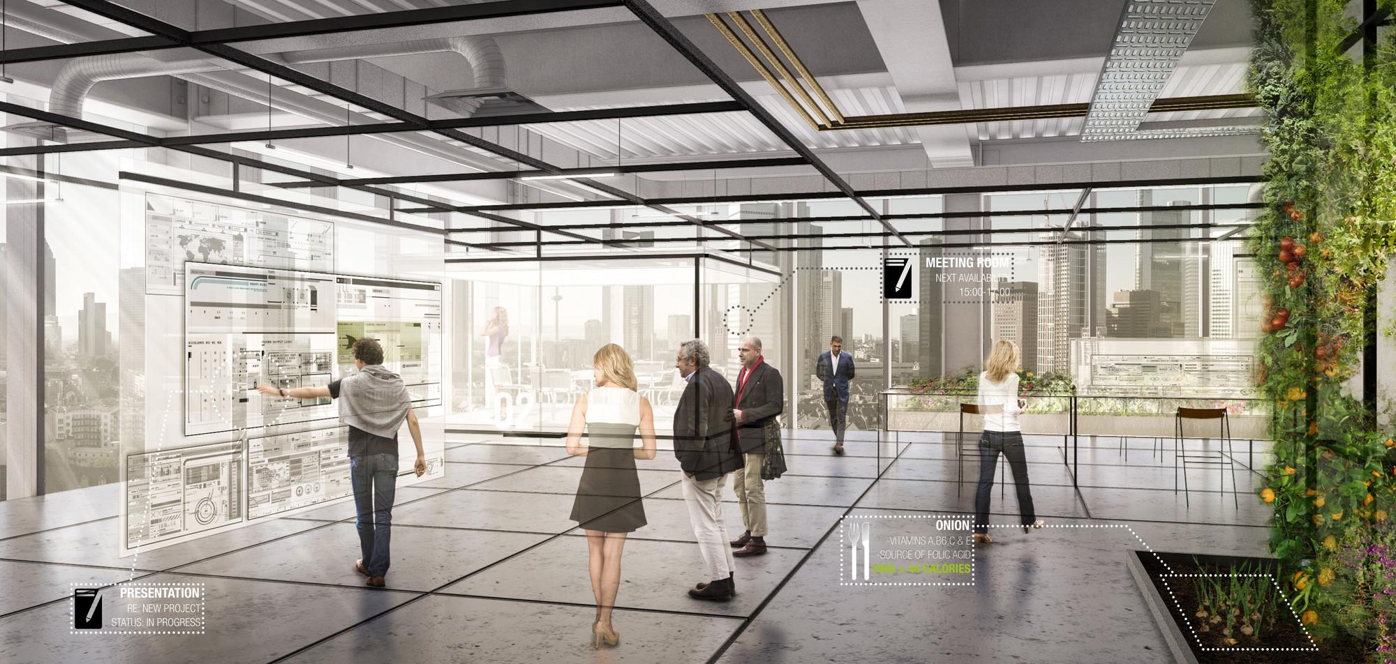 Interior mostrando paredes adaptables y jardín de los trabajadores. Organic Grid + / Sean Cassidy & Joe Wilson. Imágen cortesía de Metropolis Magazine