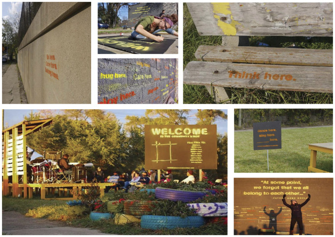 "UDM Student Awarded ""WIA Emerging Professional Inspiration Award"" for Community Outreach, ""Belong Here"" guerrilla art campaign. Image Courtesy of WIA EP Inspiration Award"