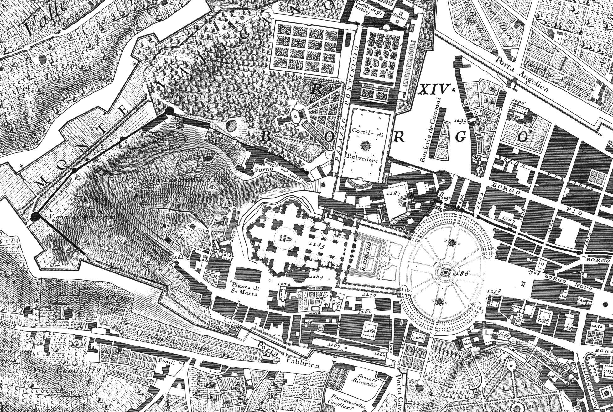 Plano de Roma por Giambattista Nolli, 1784 (detalle, El Vaticano)