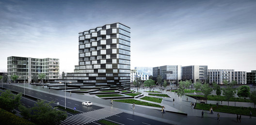 Exterior rendering showing the rotating pixel facade. Image Courtesy of Paolo Venturella Architecture