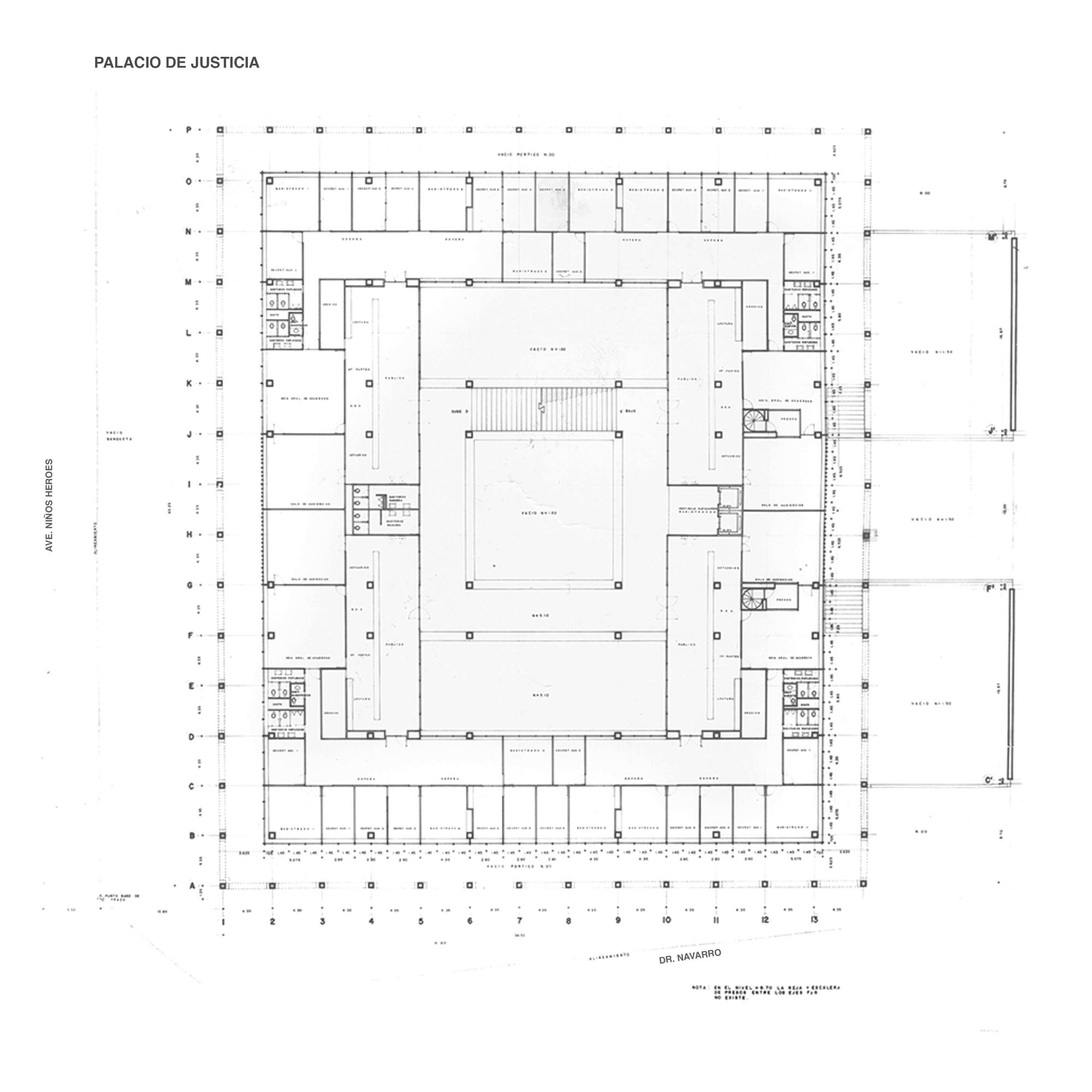 Planta Palacio de Justicia. Image Cortesia de Sordo Madaleno Arquitectos