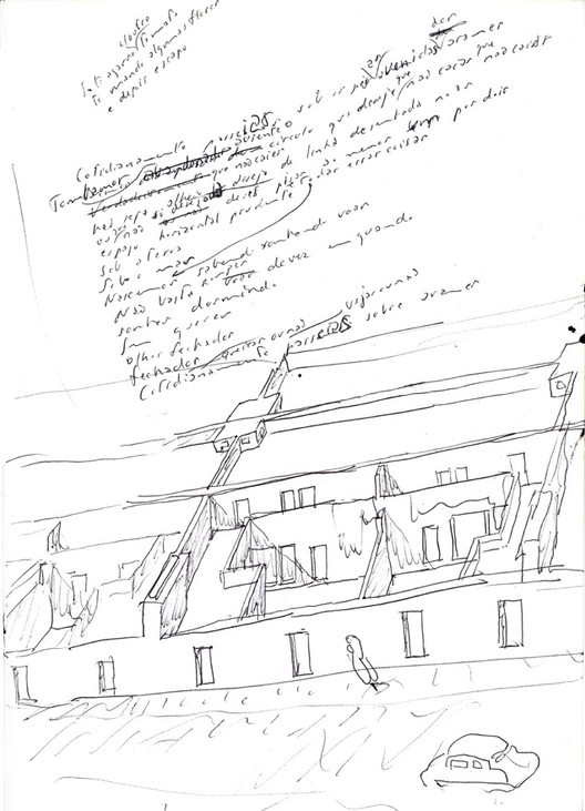 Sketch perspective showing the houses' courtyard plan arrangement. Image Courtesy of The Architectural Review