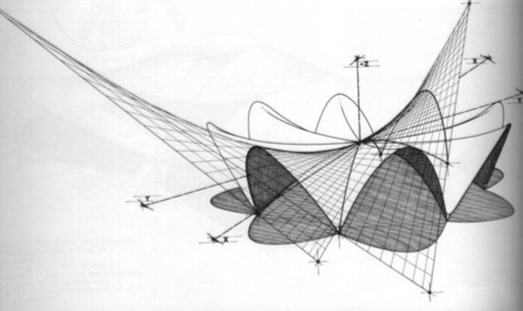 Restaurante Los Manantiales. Foto: Diagram of hypar forms