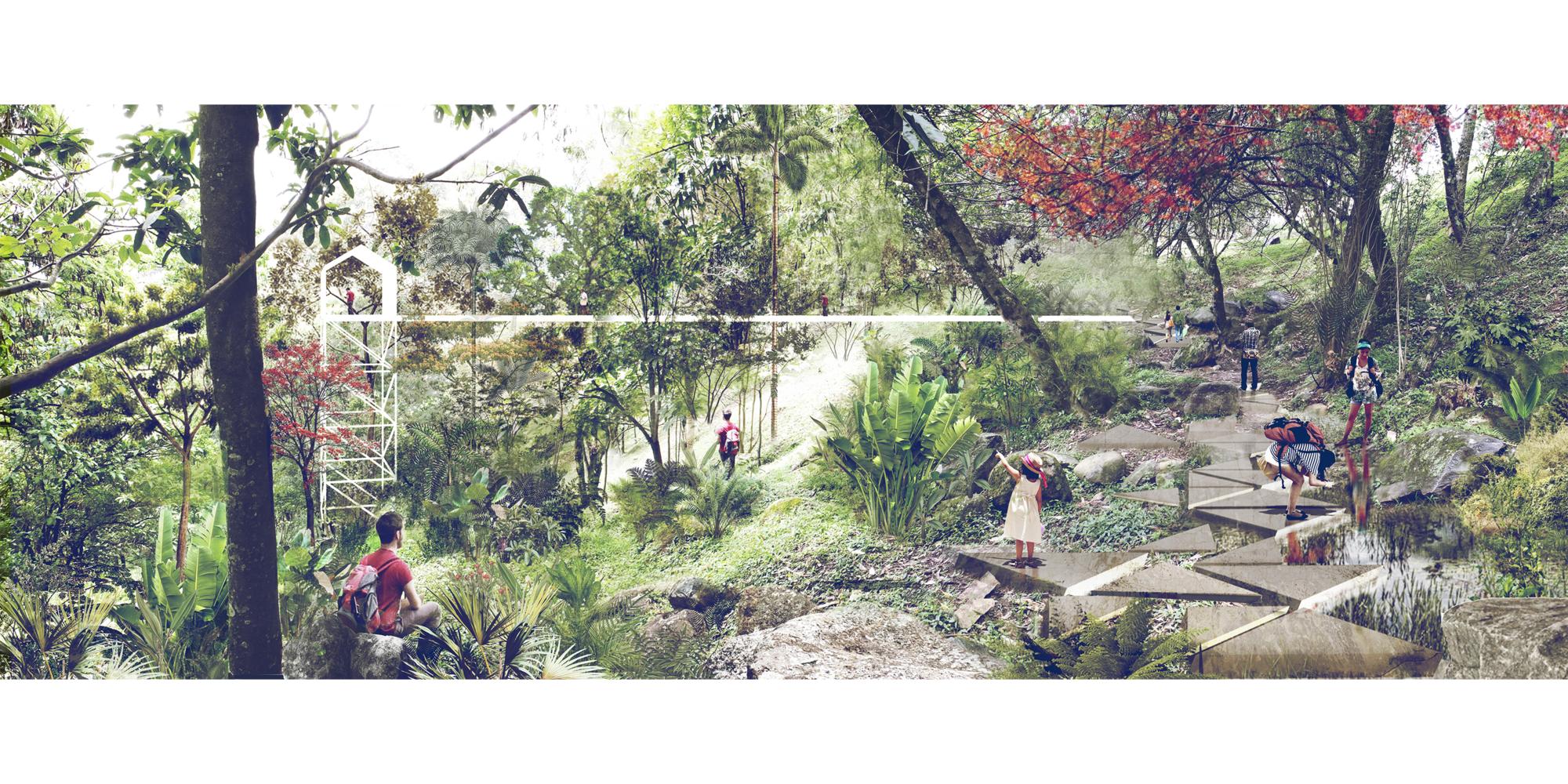 L-A-P, primer lugar por plan maestro del cerro La Asomadera en proyecto que transformará Medellín, Parque. Image Cortesia de Equipo Primer Lugar