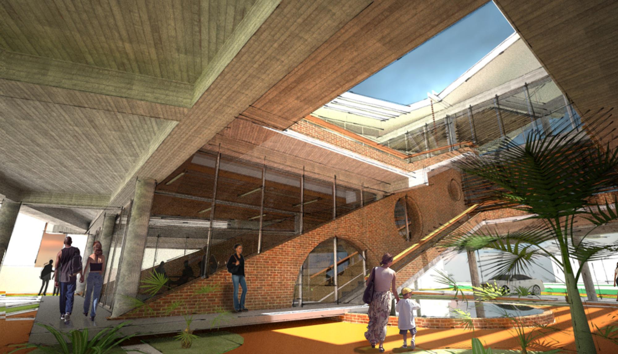 NLÉ Wins Competition to Design Financial Headquarters in Lagos, Atrium Ground Floor. Image © NLÉ