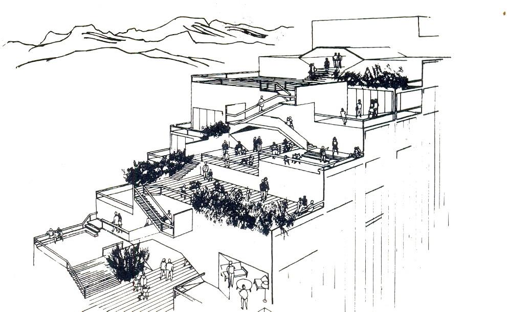 Vista aérea a las terrazas Edificio Escalonado . Image Cortesia de CA 22