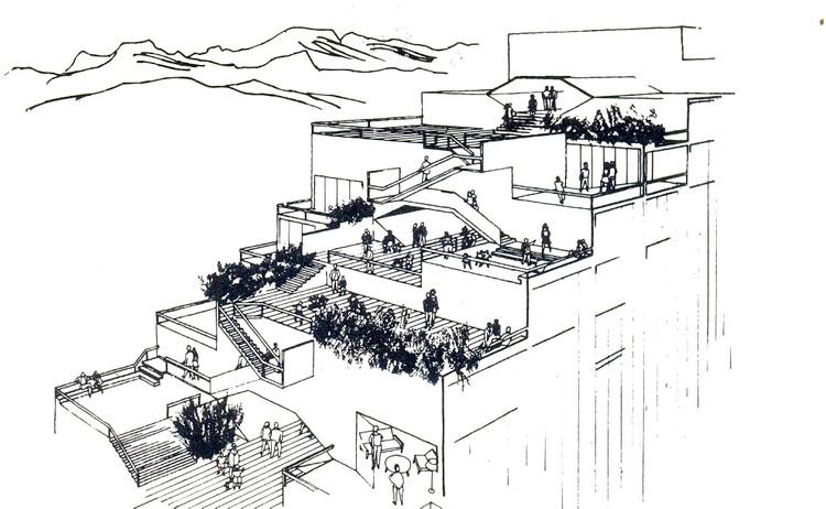 Vista aérea a las terrazas Edificio Escalonado . Image Cortesía de CA 22
