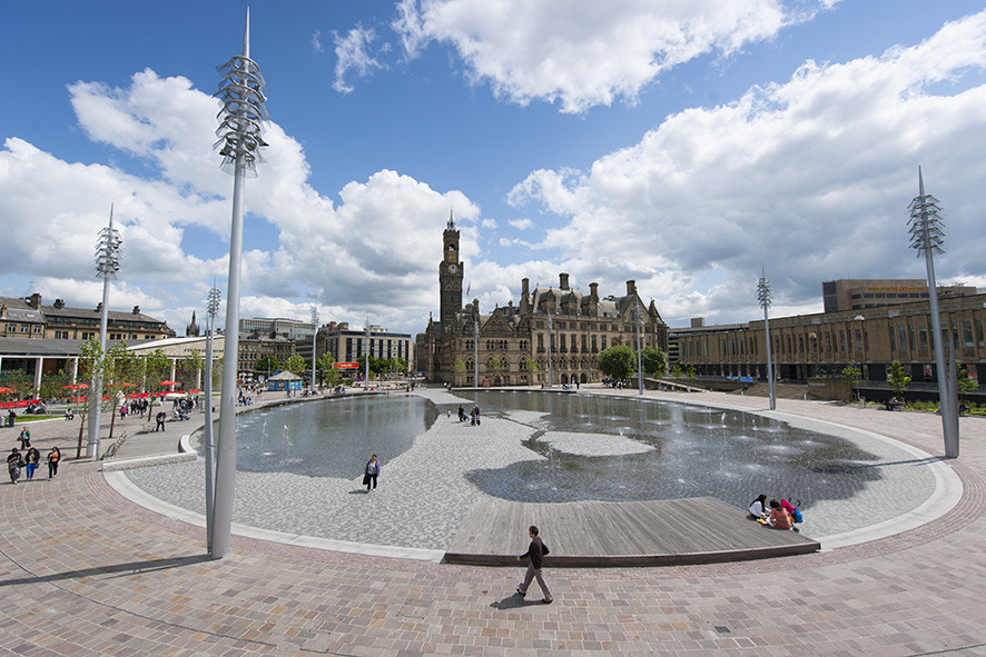 "The Building Centre Presents ""Rethinking the Urban Landscape"", Bradford City Park. Image © Gillespies"