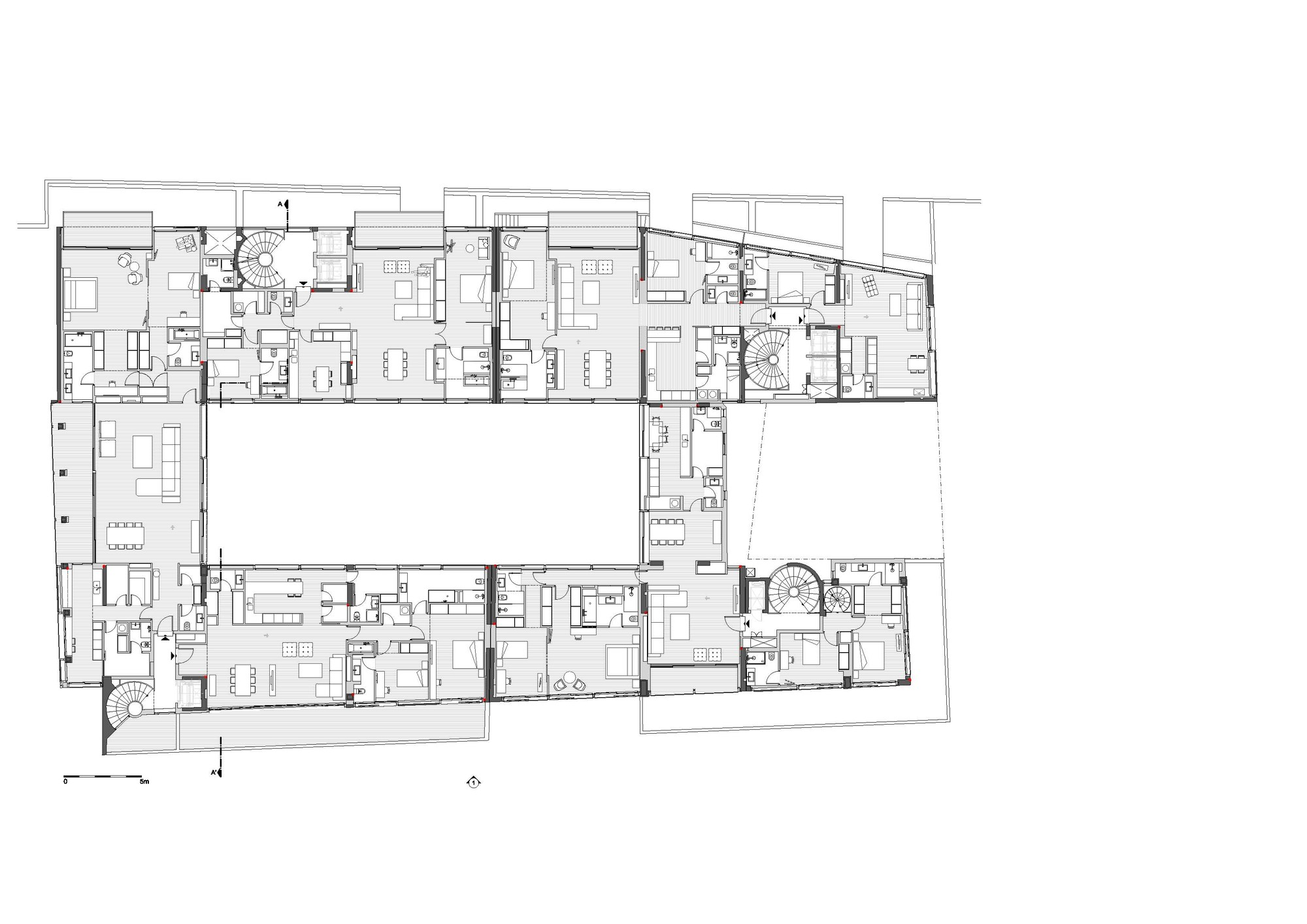 Conversion of doxiadis office building ati to apartment for Apartment building floor plans