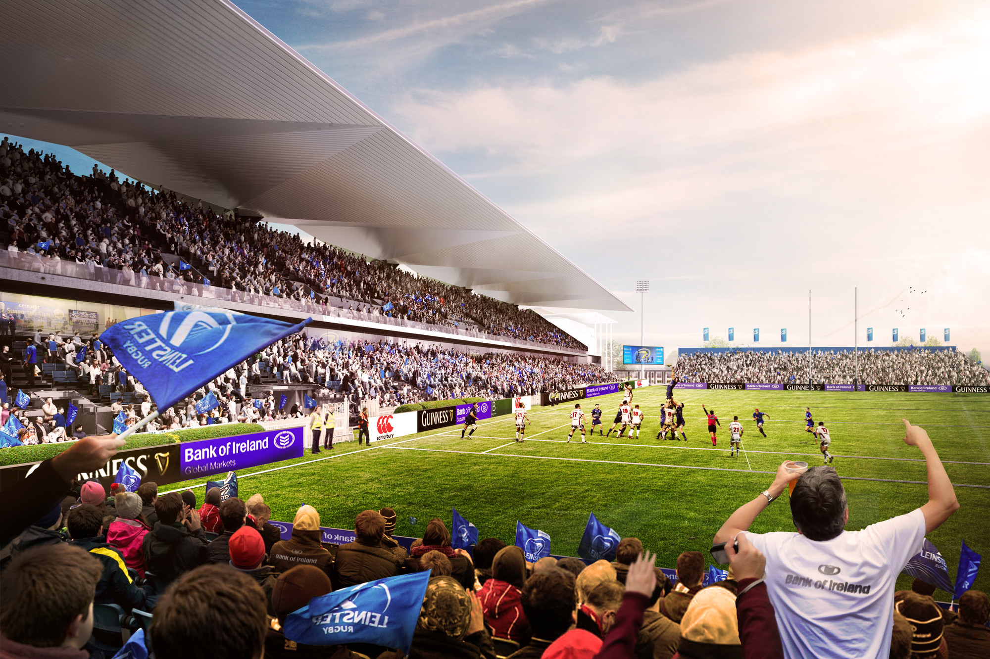 Newenham Mulligan and Grimshaw Selected to Redevelop Dublin's RDS Arena , Courtesy of Leinster Rugby