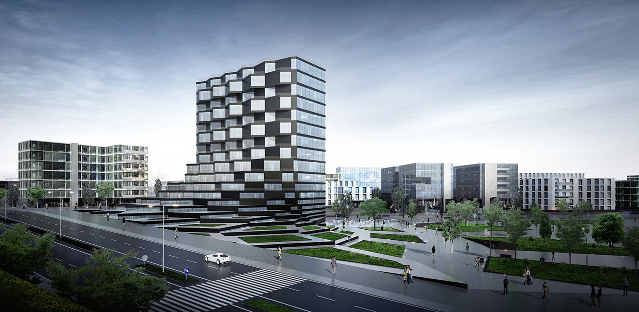 Paolo Venturella diseña edificio de oficinas utilizando rotación paramétrica, Render exterior que muestra la fachada rotatoria de píxeles. Image Cortesia de Paolo Venturella