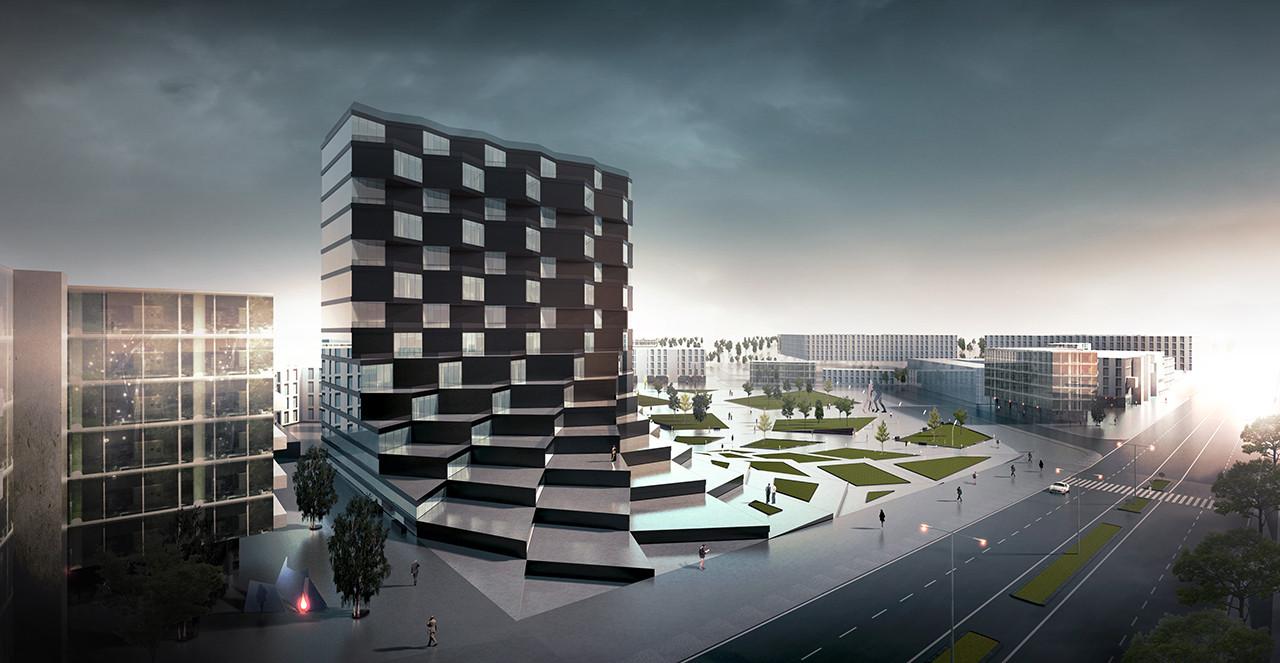 Render exterior que muestra la articulación de píxeles como fachada y escalones. Image Cortesia de Paolo Venturella