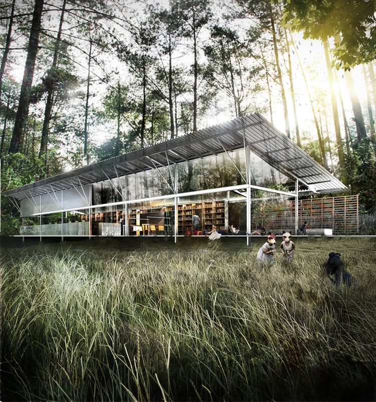 Segundo Lugar en concurso de ideas para la Biblioteca Daniel Vidart / Uruguay, Cortesía de Equipo Segundo Lugar