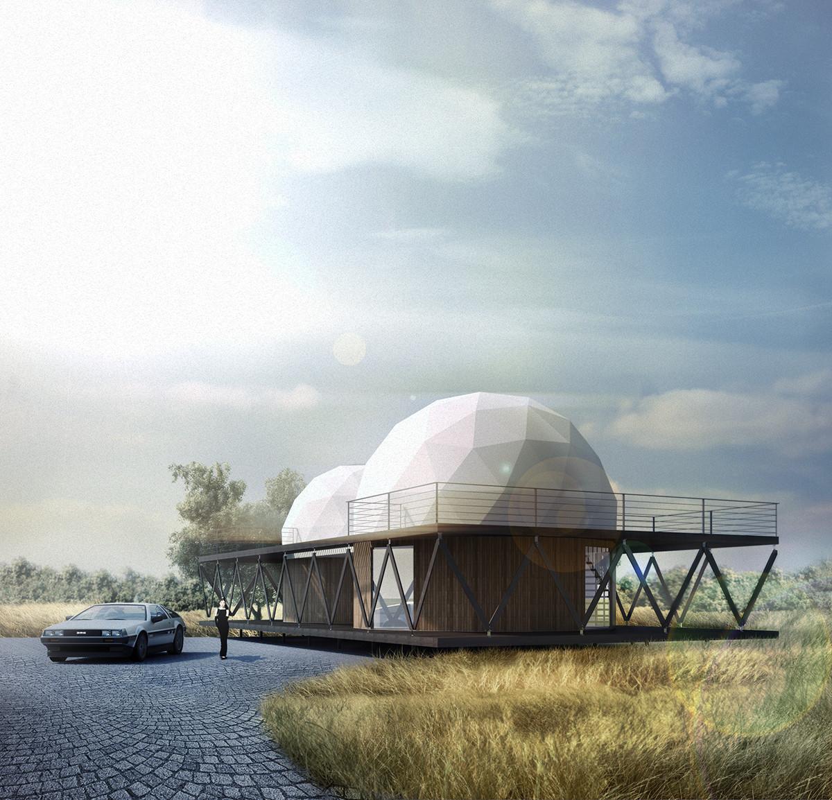 Dos domos y un zócalo: Casa 8 por B+V Arquitectos, Cortesia de B+V