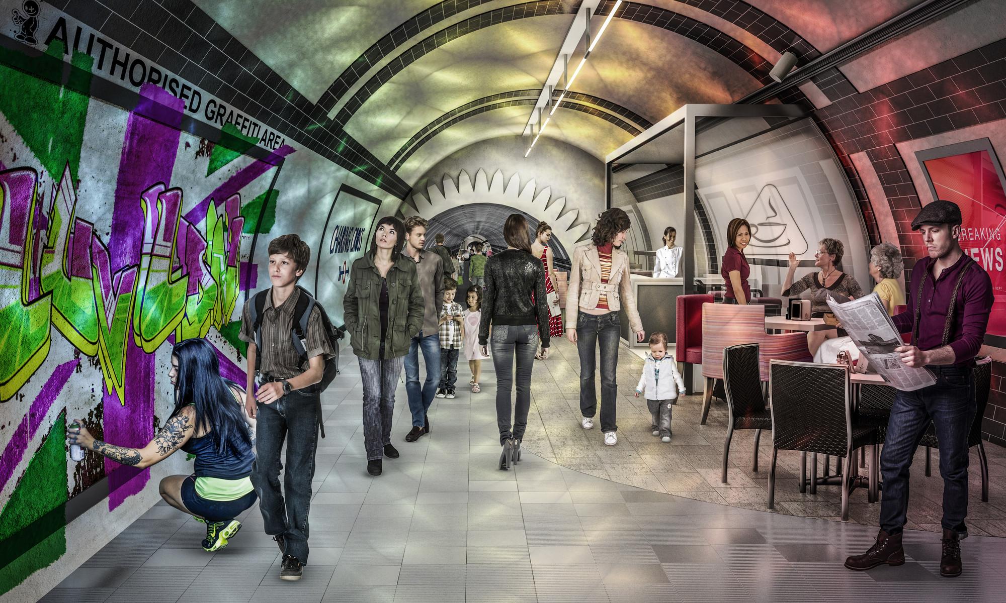 London Underline: Gensler Envisions Subterranean Transportation Network for London, Pedestrian Tunnel. Image Courtesy of Gensler