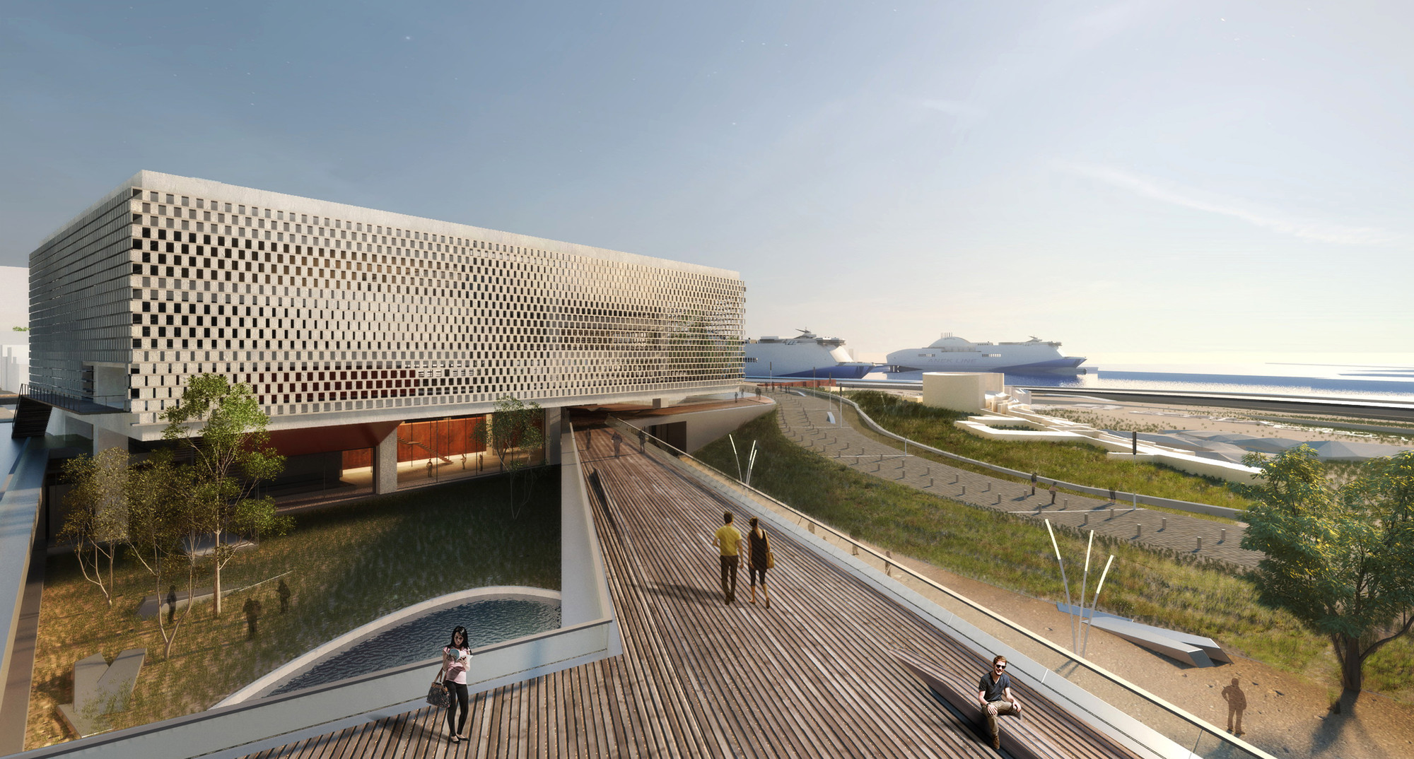 Vista sobre el deck urbano. Imágen cortesía de Tsabikos Petras Architectural Studio