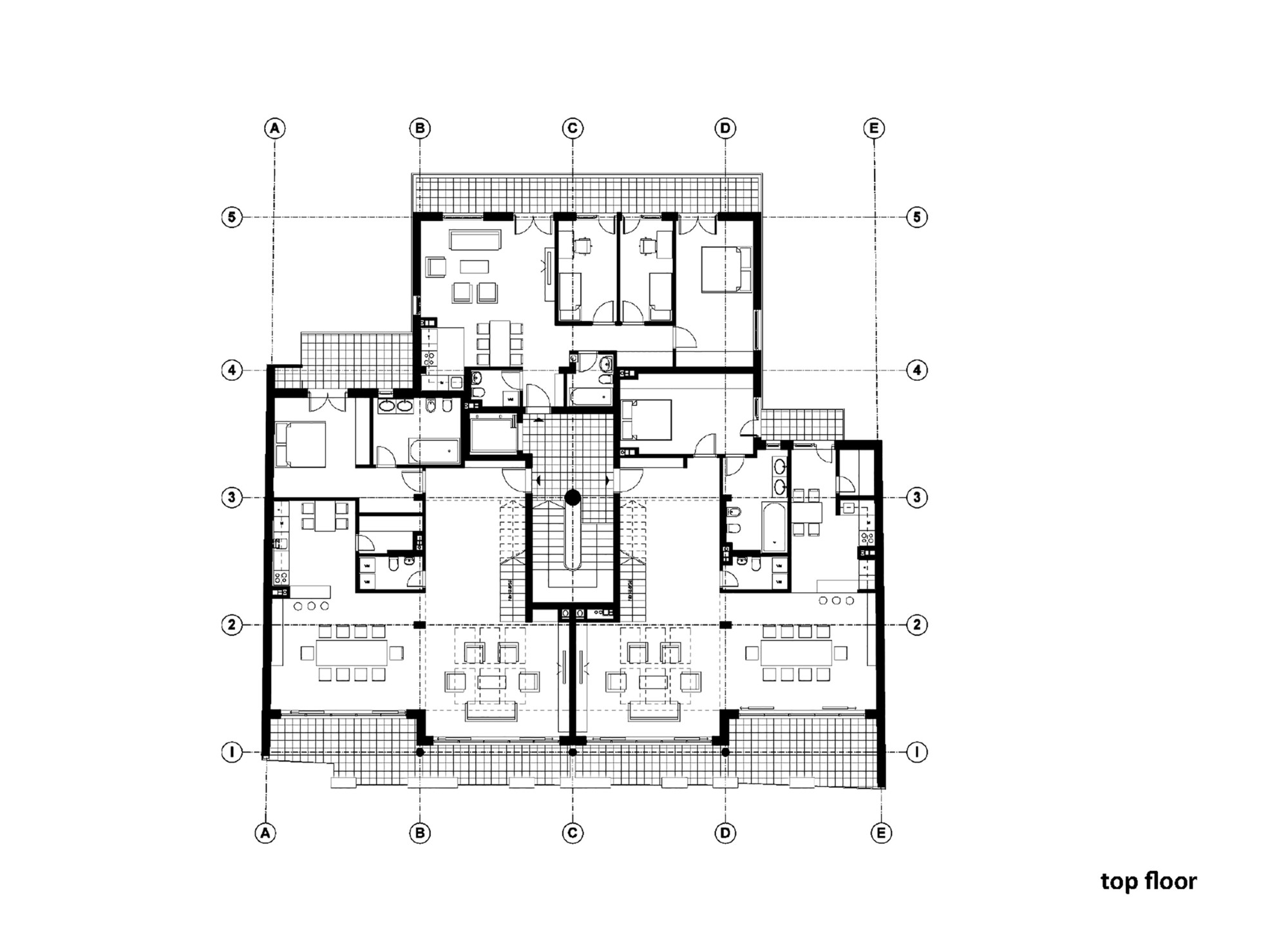 Ground floor plan of residential building for Residential blueprints