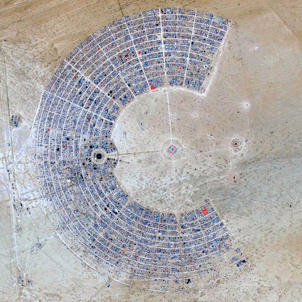 Burning Man is a week-long, annual event held in the Black Rock Desert of Nevada, USA. Image Courtesy of DigitalGlobe