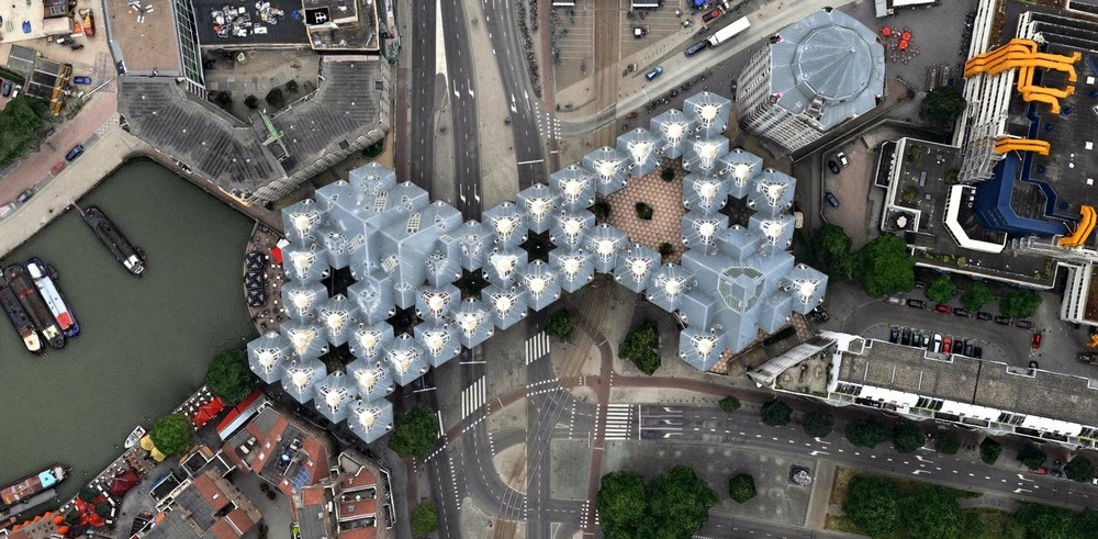 Contemplating Humanity's Effect On Planet Earth, From Above, Piet Blom's Cube Houses - Rotterdam, The Netherlands. Image Courtesy of DigitalGlobe