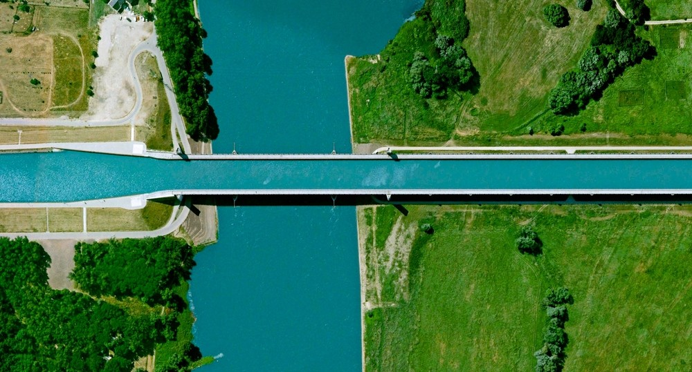 Magdeburg Water Bridge - Magdeburg, Germany. Image Courtesy of DigitalGlobe
