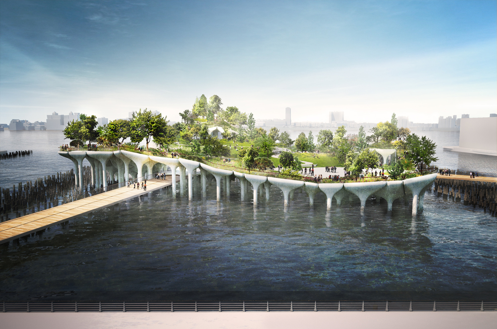 NYC's Pier 55 / Heatherwick Studio. Imagen © Pier55, Inc. and Heatherwick Studio; Renders by Luxigon