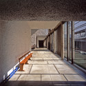 Corridor to atrium cadenced with sunshine in late morning. Monastery of Sainte Marie de la Tourette, Éveux-sur-l'Arbresle, France. Image © Henry Plummer 2011