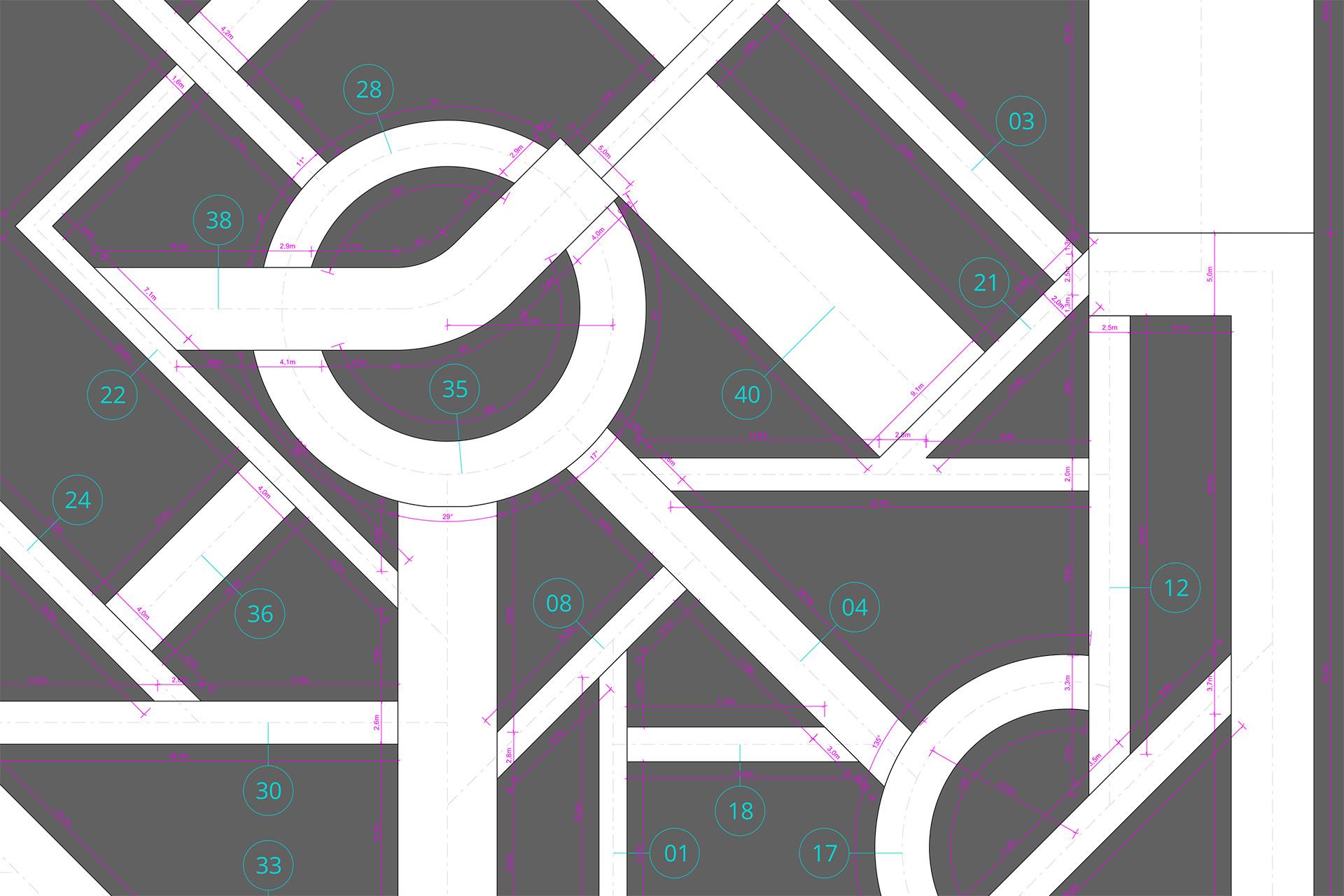 Estudio planimétrico que permitió el modelado delos espacios / Planta Parcial