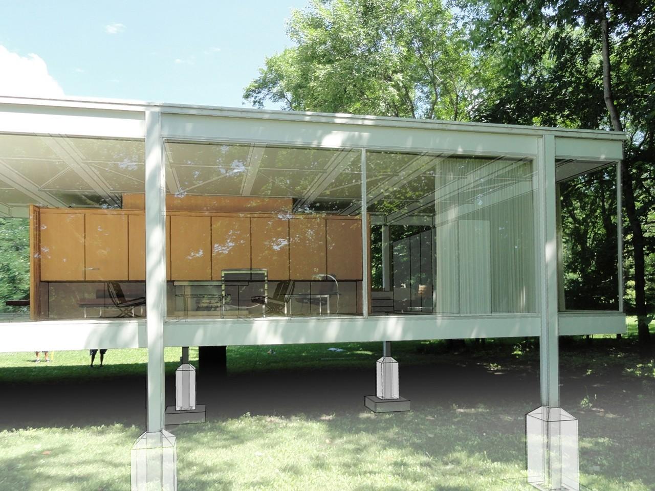 Fotomontaje que evidencia la conformación de la subestructura de la casa. Image Cortesia de Juan Fernando Valencia