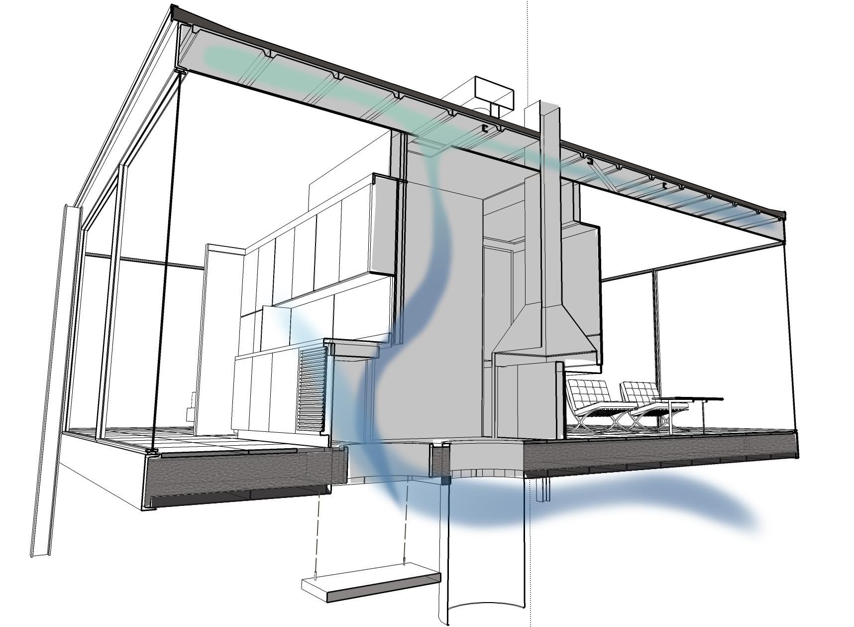 Dibujo tridimensional que muestra el sistema pasivo de enfriamiento. Image Cortesia de Juan Fernando Valencia