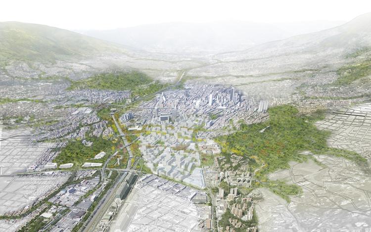 Célula Arquitectura, segundo y tercer lugar por plan maestro en cerros Nutibara y La Asomadera / Medellín, Escala de ciudad. Image Cortesía de Célula Arquitectura
