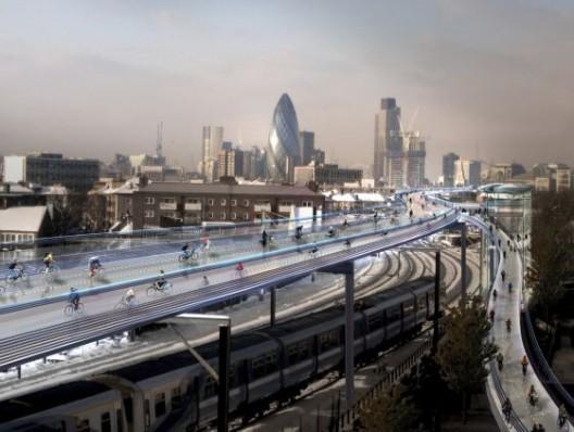 © Propuesta de autopista ciclable en Londres. Fuente: Foster & Partners.
