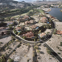 "Gated ""Monaco"" Lake Las Vegas Homes, Bankrupt Ponte Vecchio Beyond, Henderson, NV; 2010. Image © Michael Light, Lake Las Vegas/Black Mountain"