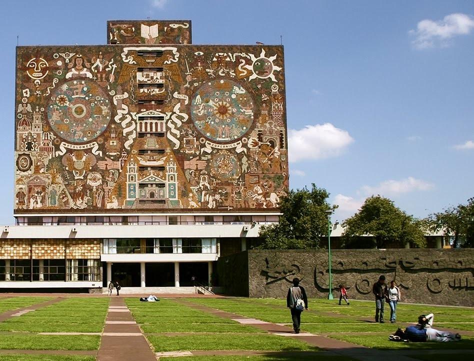 Fachada de Biblioteca Nacional CU, Juan O'Gorman. Image Cortesía UNAM Central