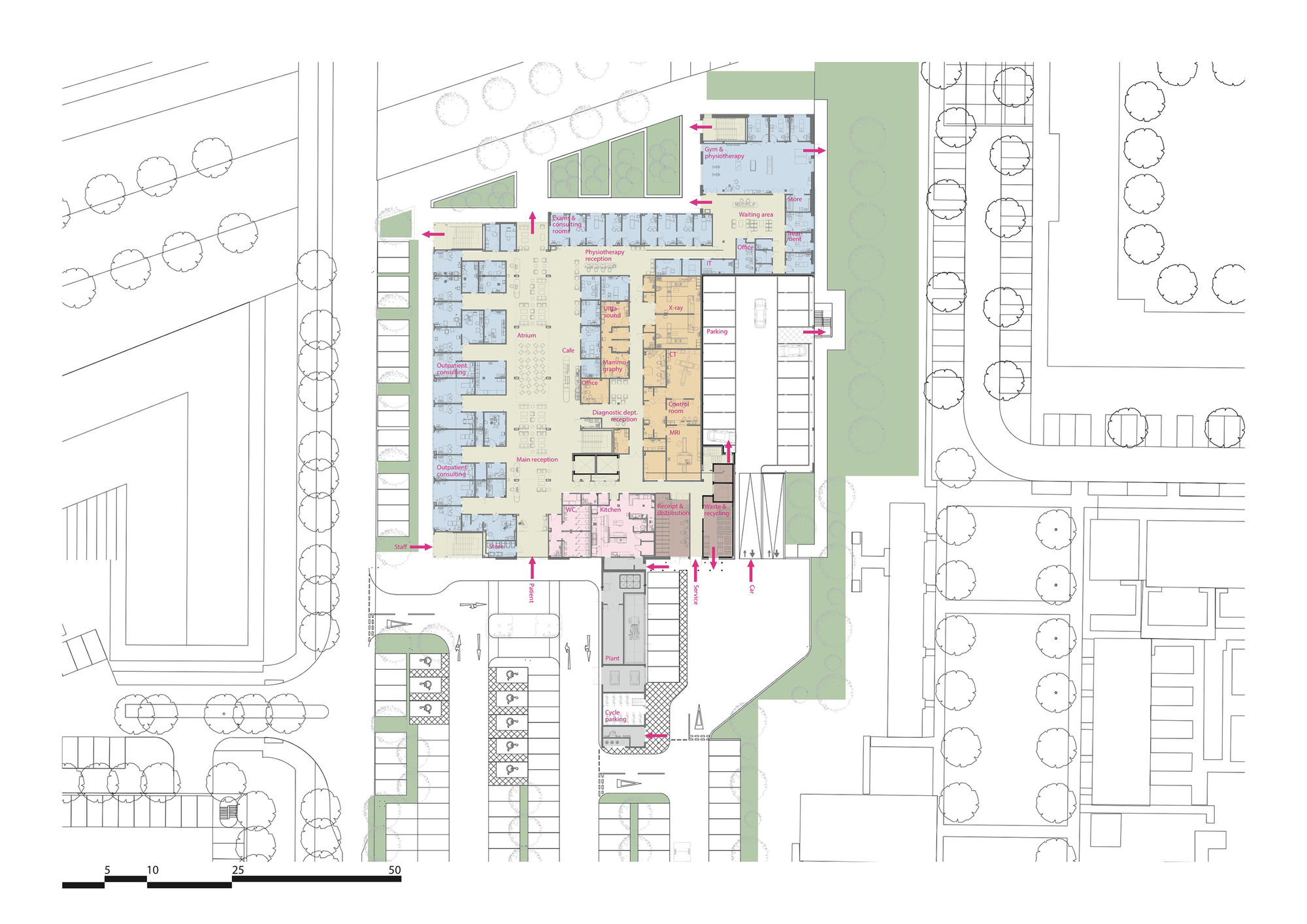 Circle reading hospital brydenwood archdaily for Reading a floor plan