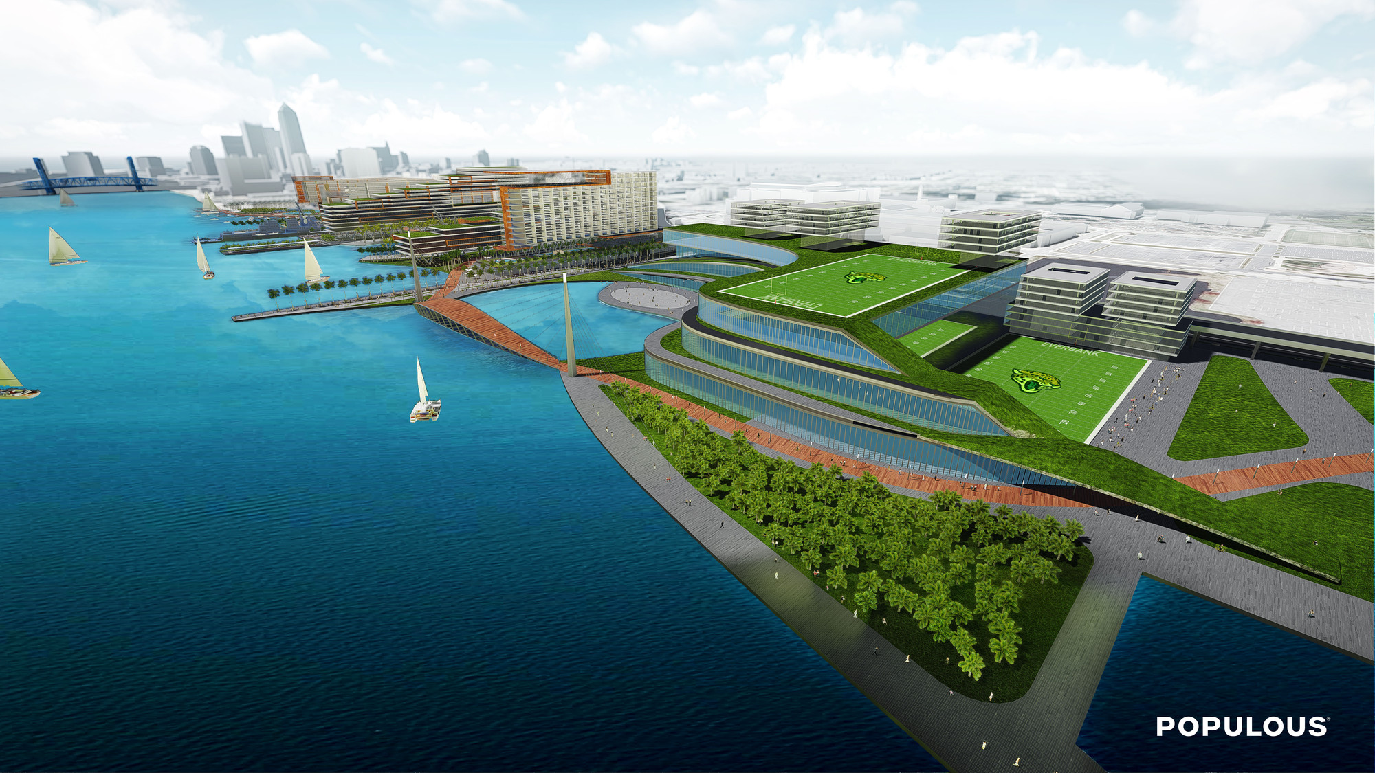 Shipyards aerial view. Image Courtesy of Populous
