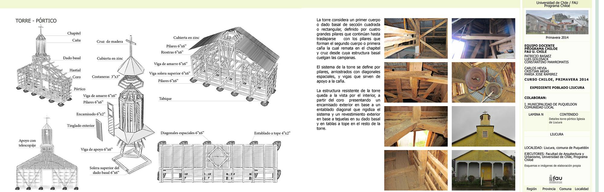Documentación de los atributos urbanos y arquitectónicos, Levantamiento técnico construtivo de la Iglesia de Liucura / Programa Chiloé 2014