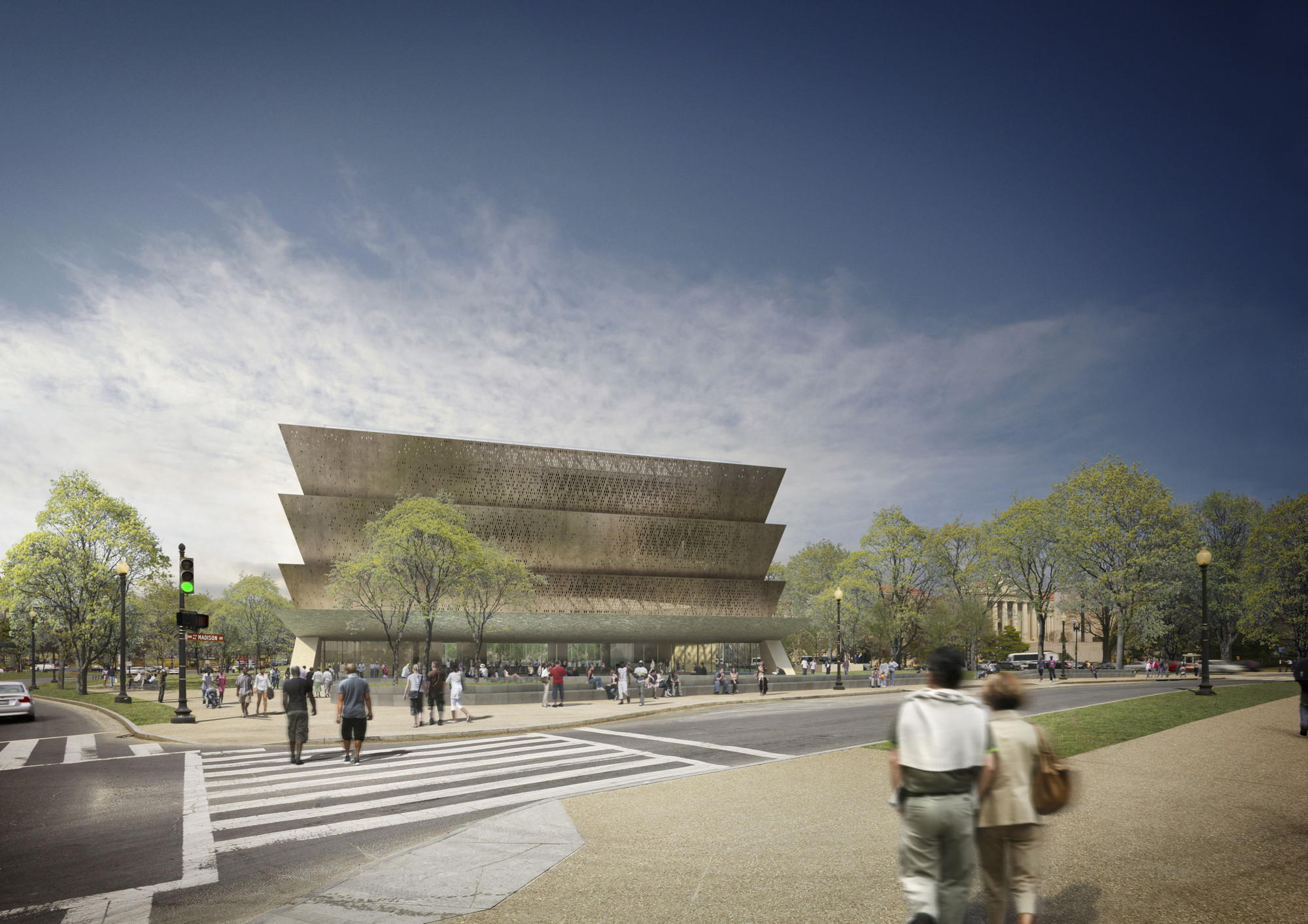 The Smithsonian National Museum of African American History and Culture in Washington DC, USA. Image Courtesy of Adjaye Associates