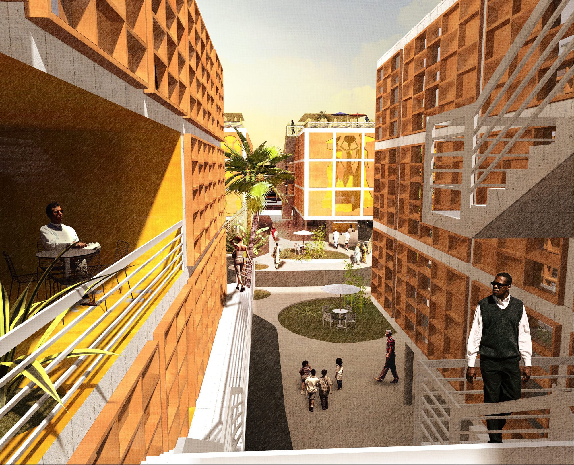 The Yaba Prototype, designed as a model for housing to be used across Nigeria. Image © NLÉ Architects