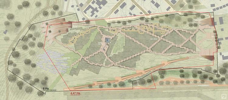 Planta general urbana paisajística del Santuario de la Memoria. Image Cortesía de Awaq Estudio + Estudio Shicras