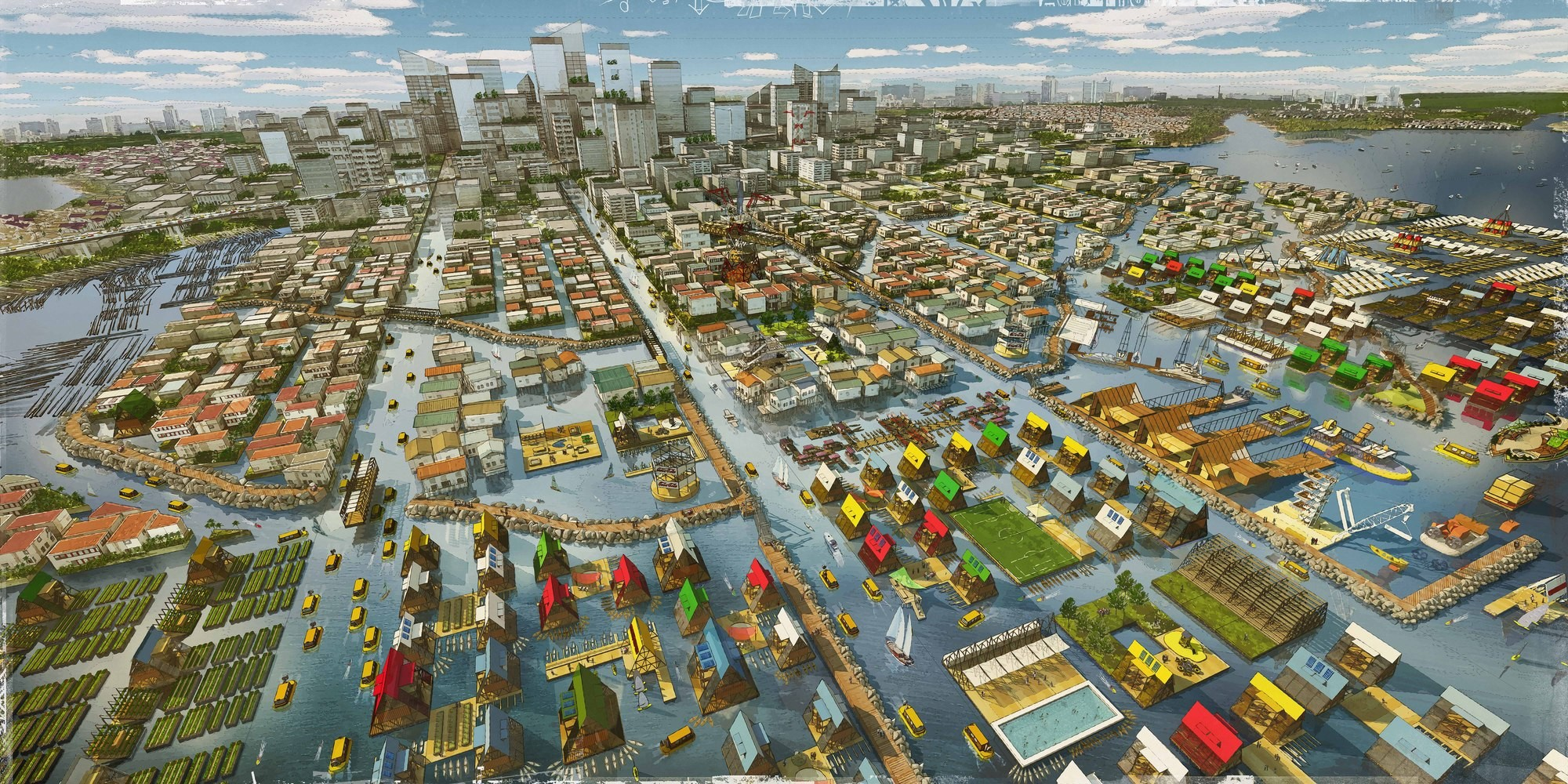 "An urban growth proposal developed for Lagos as part of MoMA's ""Uneven Growth"" exhibition, developed by NLÉ in collaboration with Zoohaus/Inteligencias Colectivas. Image © NLÉ and Zoohaus/Inteligencias Colectivas"