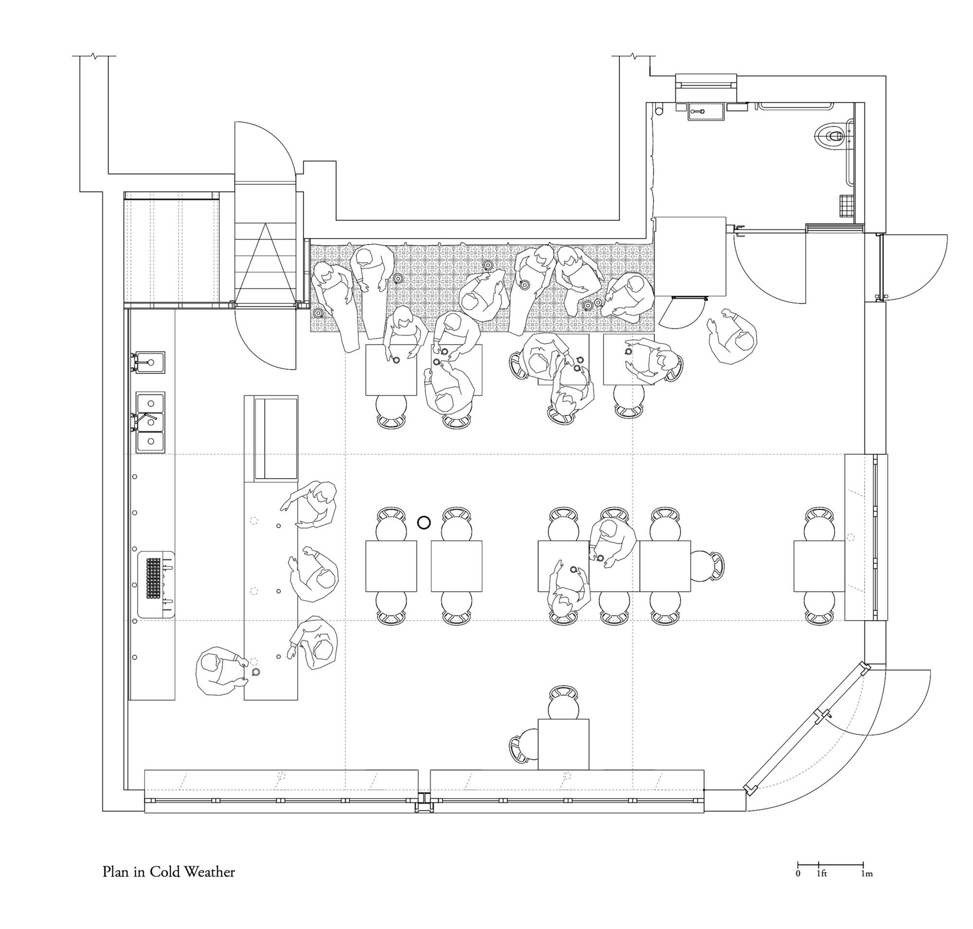 Cafe fargo davidson rafailidis archdaily for Cafe floor plan design