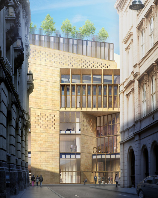 View from street. Image Courtesy of O'Donnell + Tuomey / Central European University