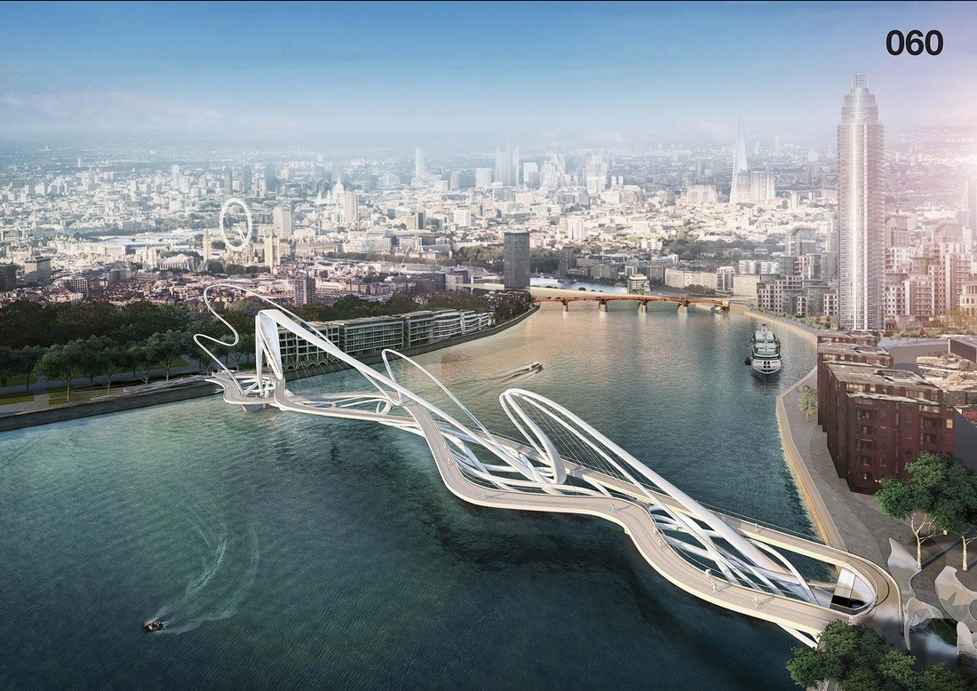 "London's Battersea Bridge Competition is a Symbol of a Divided City, ""The Spaffy Tangle"". Image Courtesy of Nine Elms Vauxhall Partnership"