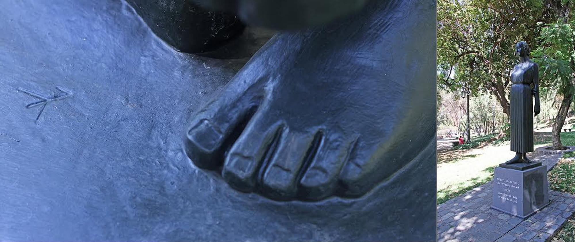 Detalle de la firma de Gerhard Marks en escultura donada por el gobierno de Alemania a Chile en 1951, actualmente en el Cerro Santa Lucía.. Image © Gonzalo Vargas Malinowski