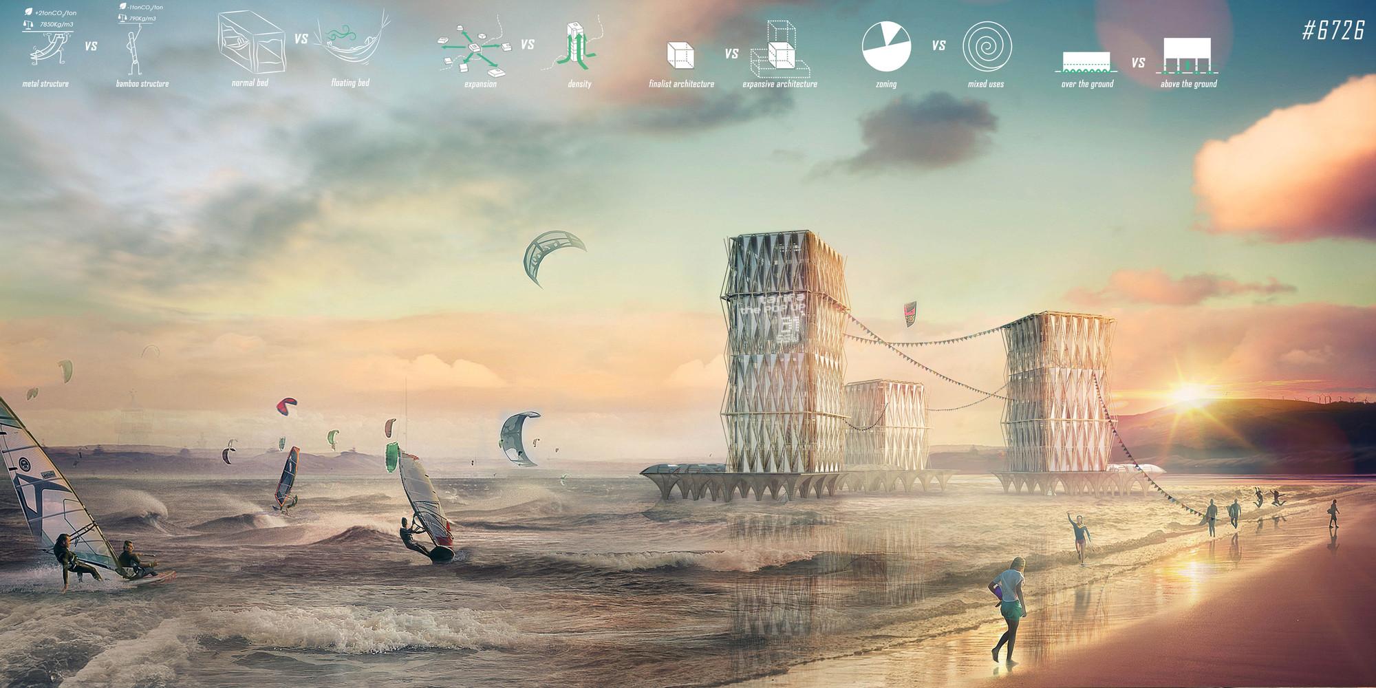 Proyectos de España, Austria y Alemania, premiados por diseños de vivienda temporal para surfistas, Primer Lugar. Image Cortesia de reTHINKING competitions